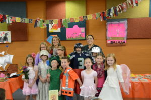 "NWC Elementary ""Pages for Pancakes"" costume contestants."