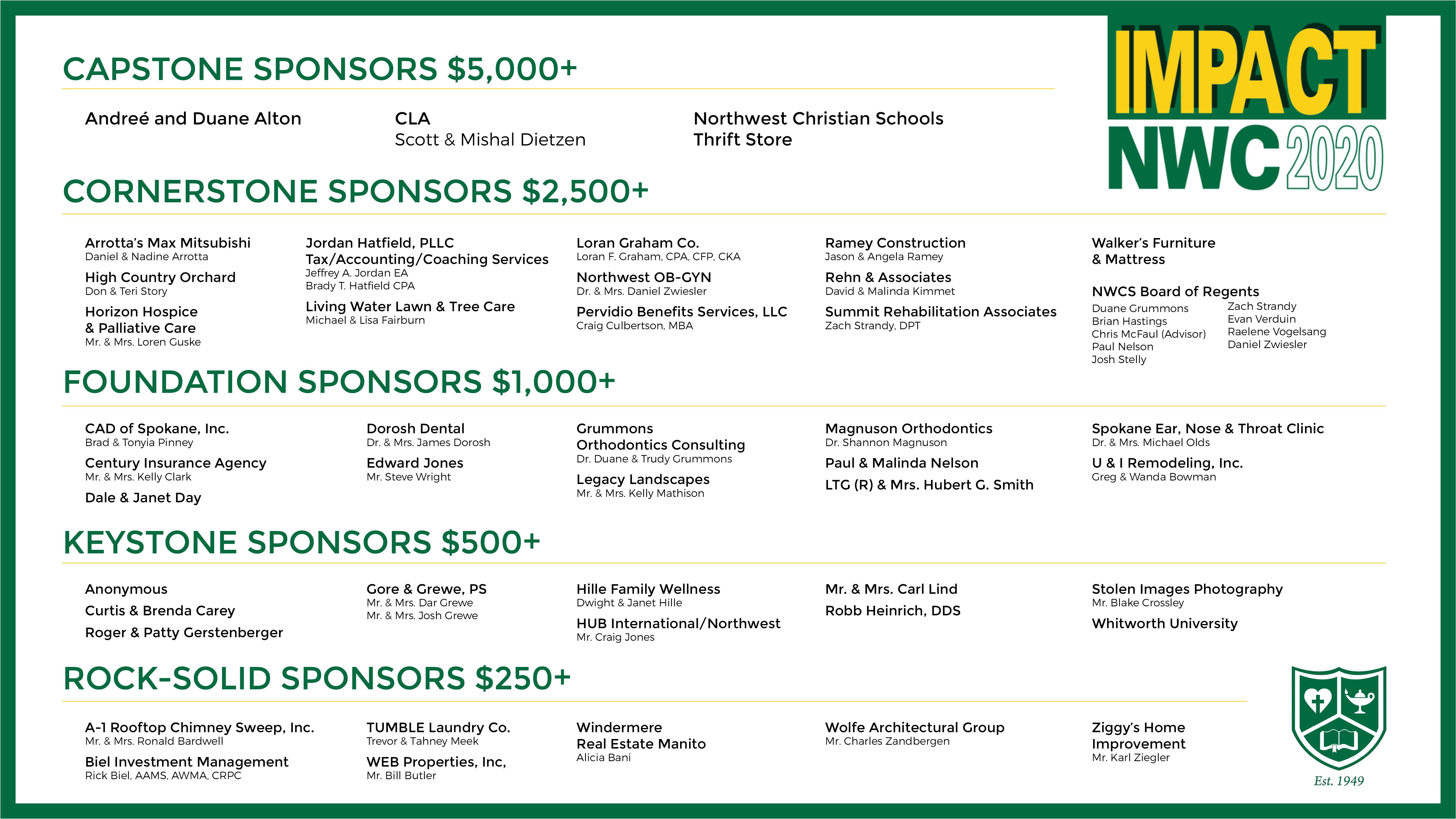 IMPACT NWC 2020 Sponsors